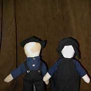 "Pair of Mid 1900's ""AMISH"" No Face Dolls 11"""