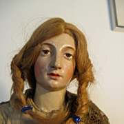 NEAPOLITAN Painted Female Gesso And Wood CRECHE Figure 20""