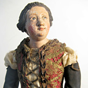 NEAPOLITAN Painted Terracotta And Wood CRECHE Female Figure 16""
