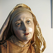 NEAPOLITAN Painted Terracotta And Wood CRECHE Nun Figure 25&quot;