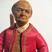 NEAPOLITAN Balded Man Painted Terracotta And Wood CRECHE Figure