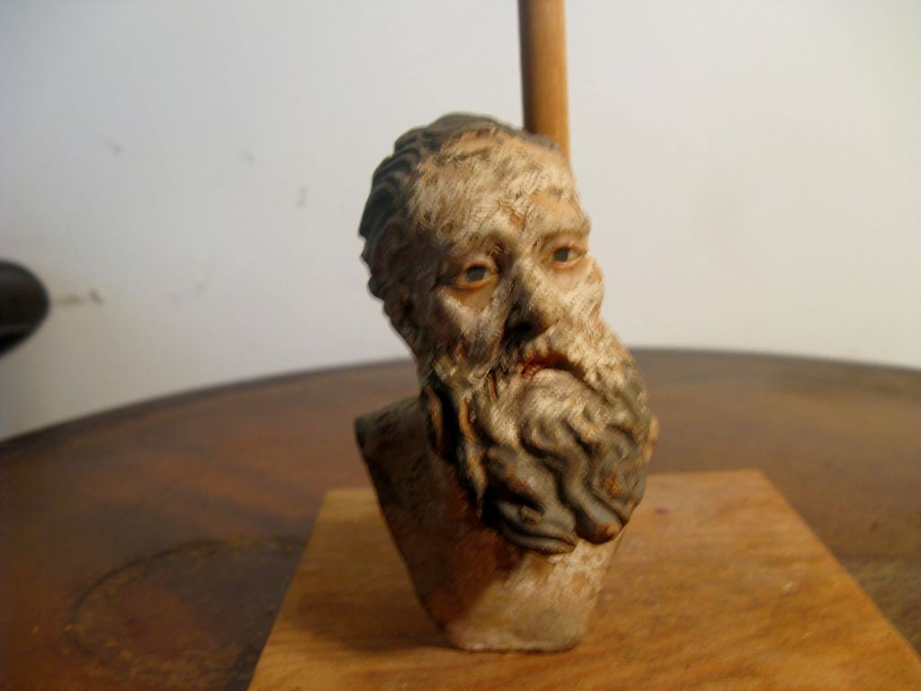NEAPOLITAN Bearded Male Painted Terracotta and Gesso Head