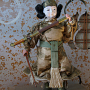 Vintage Japanese Child Emperor Samurai Warrior Ningyo Doll
