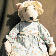 Vintage Cloth Stockinette Mouse Doll 14&quot;