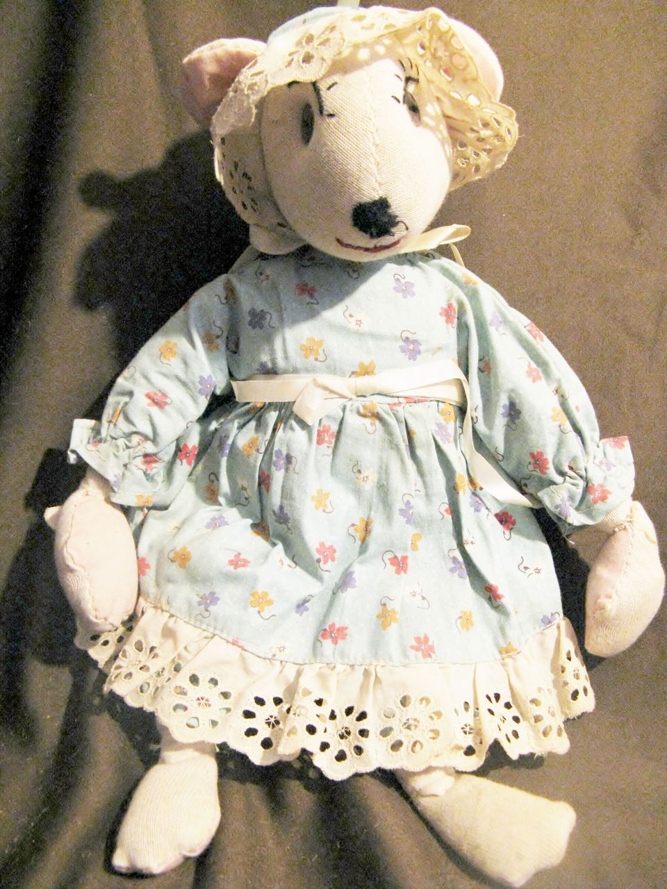 Vintage Cloth Stockinette Mouse Doll 14""