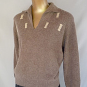 Vintage 50s Angora Sweater 1950s 3d Intarsia Knit with Collar Cocoa Brown and Ecru - Size M to