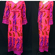 Vintage 60s Kamehameha Hawaii Barkcloth Dress Hostess Maxi with Border Print -- Size M