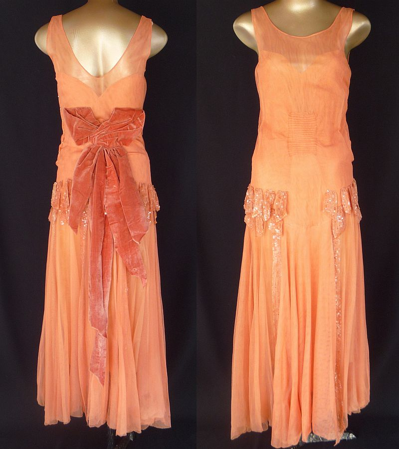 Vintage 20s Flapper Dress Deep Peach Iridescent Sequined Mesh Net with Velvet Bow & Original Silk Lining - Evening Wedding - Size XXS - 2XS