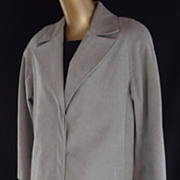Vintage 70s Coat by Lilli Ann Collection in Gray Ultra Suede Trench Coat - Size M