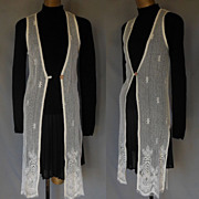 Vintage 70s Off White Scalloped Lace Long Vest - Shell Button - Bridal - Size XXS 2XS