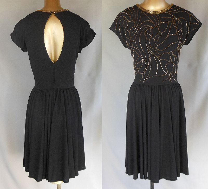 Vintage 70s does 40s Dress - Open Back Black Cocktail Party Dress - Hand Beaded with Gold Glass Beads - Size M