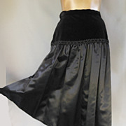 Vintage 50s Velvet and Satin Skirt - Reversible - Waist 28.5 - Size M