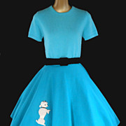 Vintage 50s Authentic Poodle Circle Skirt in Turquoise Blue Felt with Chenille Poodle - Size X