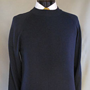 Vintage 80s Men Cashmere Sweater - Navy Blue Mock Turtleneck Italian Pullover - Designer Girol