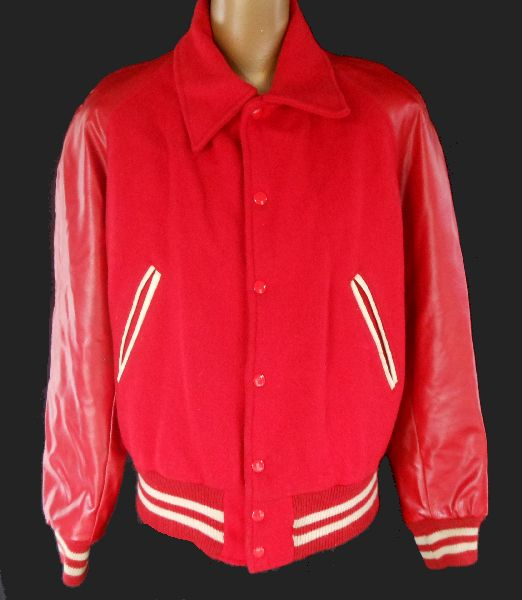 Vintage 50s Men's Wool 2-Tone Varsity Letterman Jacket Coat Men - Faux Leather Naugalite Sleeves by Karner Mfg Co - Size M