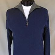 Vintage Men's Cashmere Sweater - Navy Blue & Gray Half Zip Pullover Sweater - Size M