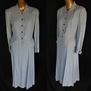 Vintage 40s Wool Hourglass Jacket and Skirt Spring Suit with Peplum in Light Blue - Size S