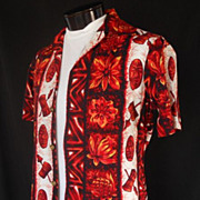 Vintage 60s Mens Hawaiian Shirt - Tiki God Masks and War Drums Vertical Print by Ui ...