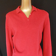 Vintage 50s Sweater 1950s Red Johnny Collar V-Neck Pullover Sweater by Garland Dreamspun - Siz