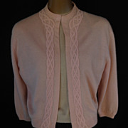 Vintage 50s Pink Cashmere Open Front Cardigan Sweater - Embellished with 3-D Ribbon Work Braid