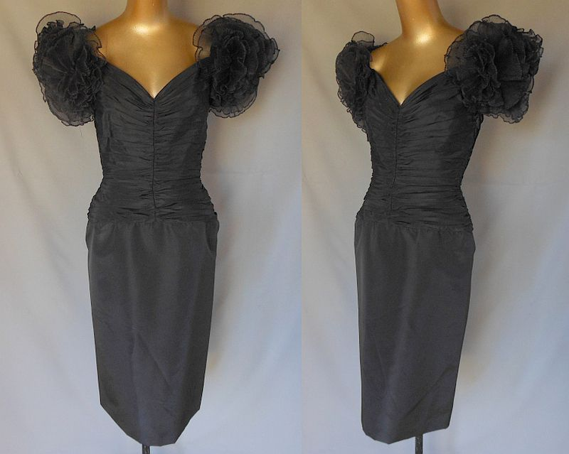 Vintage 80s Tadashi Cocktail Party Black Wiggle Dress with Ruched Bodice and Crystal Pleated Ruffle Sleeves - Size S