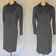 Vintage 40s Black Wool Jacket and Skirt Suit with Faux Persian Lamb Collar - Size M