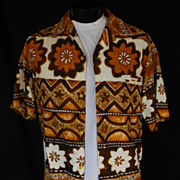 Vintage 60s Mens Hawaiian Shirt - Tiki Tapa Horizontal Print Cotton Barkcloth Shirt by Liberty