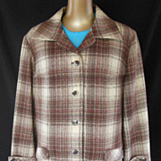Vintage 60s Pendleton 49er Style Jacket - Brown and Taupe Wool Plaid - Size XL to XXL - 2Xl