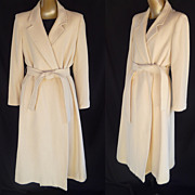 Vintage 50s Cashmere Wrap Coat in Vanilla Creme by Fleurette for I Magnin - Original Belt - Si