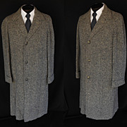 Vintage 50s Men's Top Coat in Wool Tweed with Original Zip Out Wool Plaid Lining - Size M to L