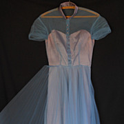 Vintage 50s Cocktail Party Prom Dress - Blue Satin and Tulle Illusion Bodice - Size S