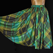 Gorgeous Vintage 50s Gathered Full Skirt - in Green, Olive and Brown Diagonal Plaid Cotton  -