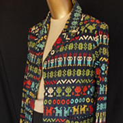 Vintage 70s Hand Embroidered Guatemalan Ethnic Blazer Jacket - Multi-Color 3-D Little People -