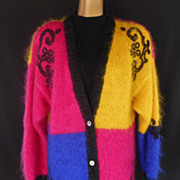 Vintage 80s Mohair Colorblock Embroidered Cardigan Tunic Sweater - Size L - Xl - 2 XL -  XXL