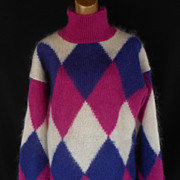 Vintage 80s Tunic Sweater - Fluffy Mohair Colorblock Argyle Turtleneck Sweater - Size L - Xl
