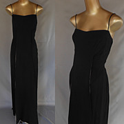 Vintage 60s Estevez Dress Evening Gown - Black Silk Crepe with Fly a Way Panels - Size XS to S