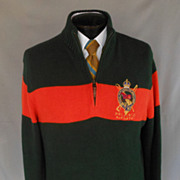Vintage 90s Men Cotton Sweater by Polo Ralph Lauren -  RL Embroidered Metallic Equestrian Logo
