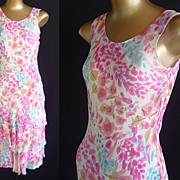 Vintage Flapper Dress - 90s does 20s Pink Floral Chiffon - Made in India by Phool - Size XS to