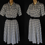 Vintage 70s does 50s Dress - Navy Blue & White Plaid  Full Skirted Shirtdress -  Size M