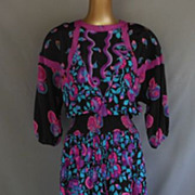 Vintage 80s Silk Abstract Print Dress by Designer Diane Freis - Rich Hippie Boho - Size L to X