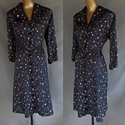 Vintage 40s Shirtwaist Swing Dress - Abstract Print Rayon by Puritan Forever Young - Original