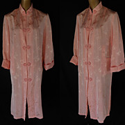 Vintage 80s Chinese Asian Floral Peach Jacquard Tunic Shirt Dress - New with Tags - NWT - Size
