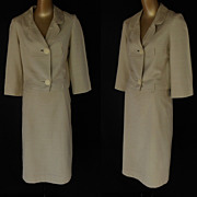Vintage 60s Cream Skirt Suit - Dupioni Silk by I Magnin & Co  - Mad Men - Size S to M