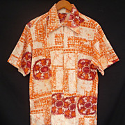 Vintage 60s Men Hawaiian Shirt - Orange Batik Barkcloth Zip Front by Lauhala - Size S