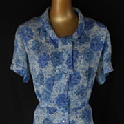 Vintage 40s Dress Shirtwaist - Cold Rayon Deco Blue Floral Swing Dress with Ascot Collar - Siz