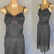 Vintage 50s Black Full Slip with Chiffon Crystal Pleats and Eyelet Lace by Rogers -Size S to M