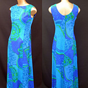 Vintage 60s Maxi Dress - Hawaiian Aloha Tiki Dress - Blue Floral Cotton Barkcloth - Watteau ..