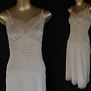 Vintage 50s Full Slip - Nude Taupe with Pleated Maline Tulle Trim by Vanity Fair - Size S