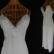 Vintage 30s White Silk Satin Bias Cut Full Slip with Adjustable Straps by Radelle  - Size S to