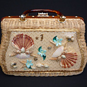 Vintage 60s Wicker Picture Window Box Purse Handbag - Princess Charming by Designer Atlas of F